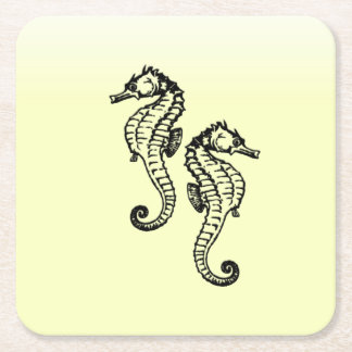 Seahorses Yellow Square Paper Coaster