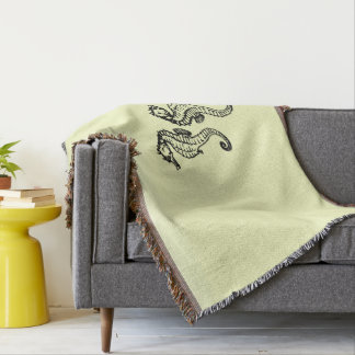 Seahorses Yellow Throw Blanket