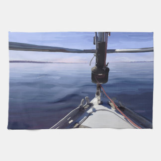 """Seaking the Horizon"" Sail Boat Kitchen Towel"