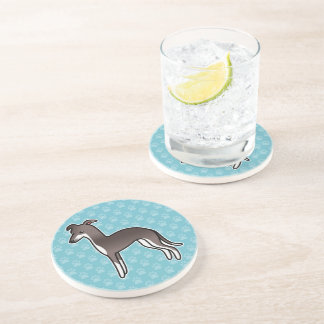 Seal And White Italian Greyhound Coaster