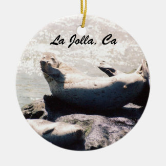 Seal Blowing a Kiss in La Jolla Christmas Ornament