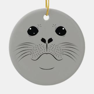 Seal face silhouette ceramic ornament