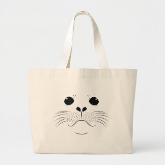 Seal face silhouette large tote bag