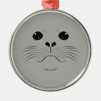 Seal face silhouette metal ornament