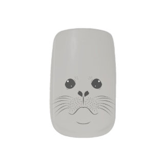 Seal face silhouette minx nail art