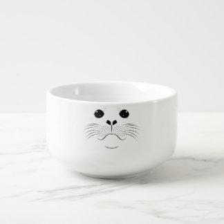 Seal face silhouette soup mug