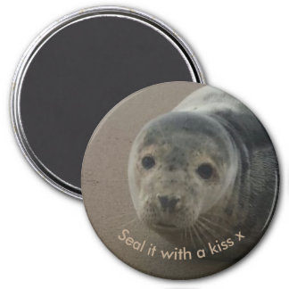 Seal it with a kiss cute baby grey seal magnet
