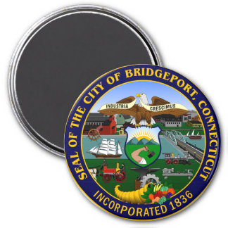 Seal of Bridgeport, Connecticut 3 Inch Round Magnet