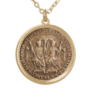 SEAL OF MARY QUEEN OF SCOTS &FRANCOIS ll OF FRANCE Gold Plated Necklace