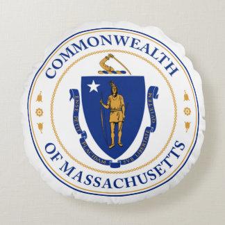Seal of Massachusetts Round Pillow
