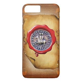 SEAL OF THE KNIGHTS TEMPLAR red wax parchment iPhone 8 Plus/7 Plus Case