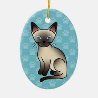 Seal Point Siamese Cat Ceramic Ornament