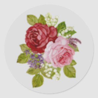Seal sticker of rose of red and pink