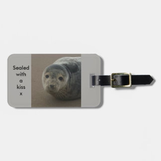 Sealed with a kiss baby grey seal baggage label luggage tag