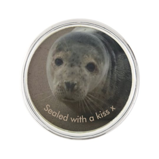 Sealed with a kiss baby grey seal lapel pin