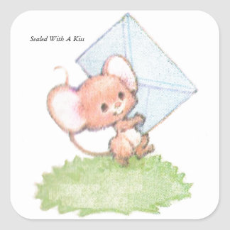 Sealed With A Kiss Mice Love Letter Square Sticker
