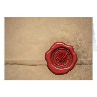 Sealing wax monogram: Letter H Card