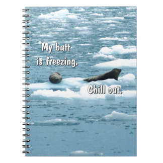 Seals making note of the cold spiral note book