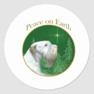 Sealyham Terrier Peace on Earth Classic Round Sticker