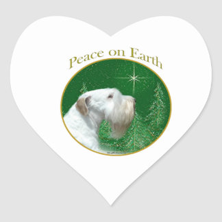 Sealyham Terrier Peace on Earth Heart Sticker