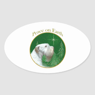 Sealyham Terrier Peace on Earth Oval Sticker
