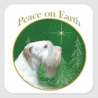 Sealyham Terrier Peace on Earth Square Sticker
