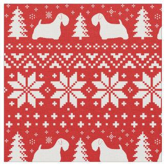 Sealyham Terrier Silhouettes Christmas Pattern Fabric