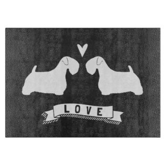 Sealyham Terrier Silhouettes Love Cutting Board