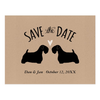 Sealyham Terrier Silhouettes Wedding Save the Date Postcard
