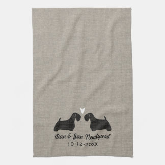 Sealyham Terrier Silhouettes with Heart and Text Kitchen Towel