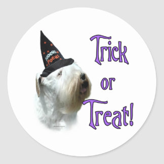 Sealyham Terrier Trick or Treat Classic Round Sticker