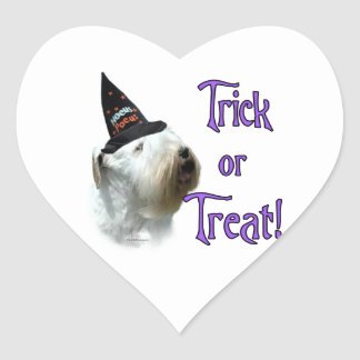 Sealyham Terrier Trick or Treat Heart Sticker