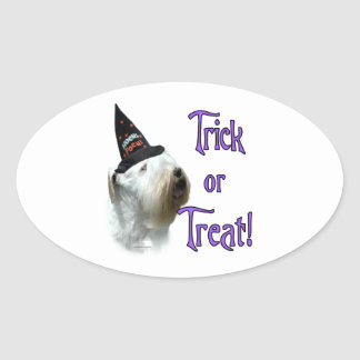 Sealyham Terrier Trick or Treat Oval Sticker