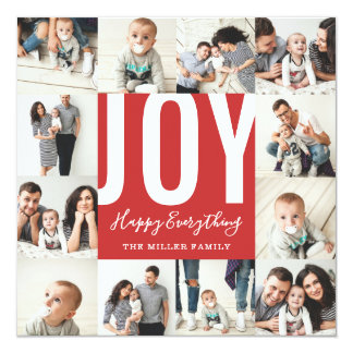 Seamless 12 Photo Joy Happy Everything Holiday Red Card