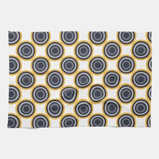 Seamless Abstract Navy Blue, Gray,Yellow Circles Kitchen Towel
