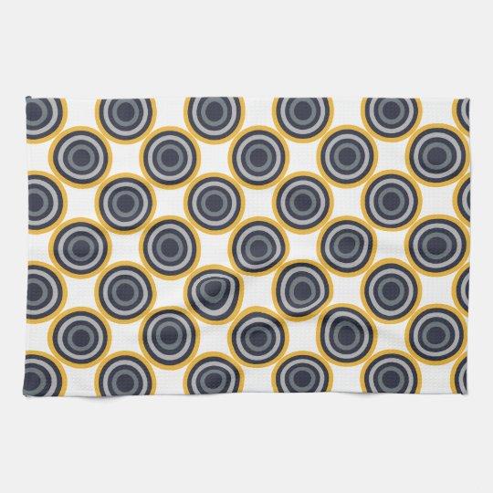 Seamless Abstract Navy Blue, Grey,Yellow Circles Kitchen Towel