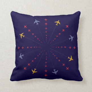 seamless airplanes blue decor throw pillow
