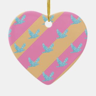 Seamless Bird and Stripes Pattern Ceramic Heart Ornament