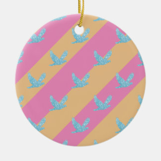 Seamless Bird and Stripes Pattern Round Ceramic Ornament