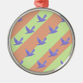 Seamless Bird and Stripes Pattern Silver-Colored Round Ornament