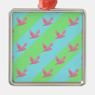 Seamless Bird and Stripes Pattern Silver-Colored Square Ornament