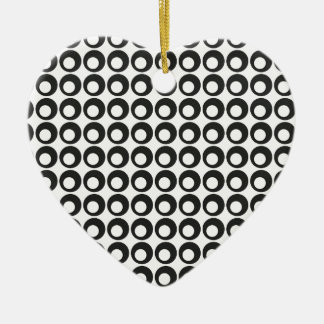 Seamless Black and White Abstract Modern Circles Ceramic Heart Ornament