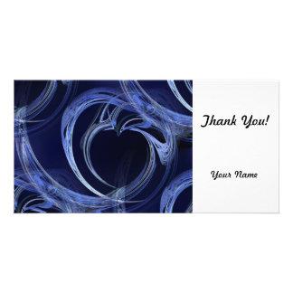 Seamless Blue Fractal Photo Card