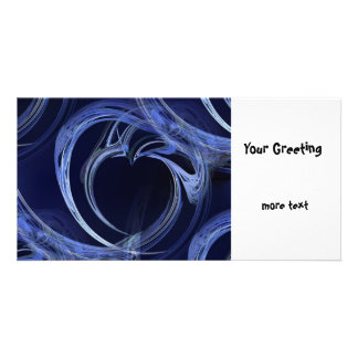 Seamless Blue Fractal Photo Card Template