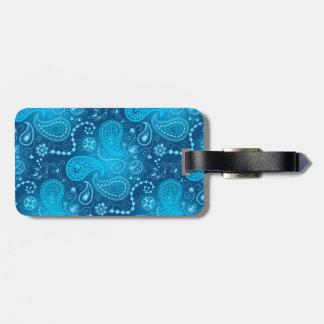 Seamless blue paisley pattern. Elegant style Luggage Tag