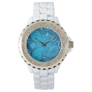 Seamless blue paisley pattern. Elegant style Wristwatch