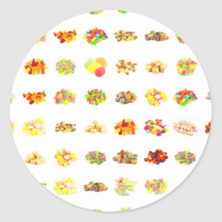 Seamless Candy and Candies Pattern Background Classic Round Sticker