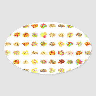 Seamless Candy and Candies Pattern Background Oval Sticker