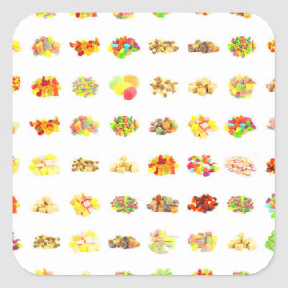 Seamless Candy and Candies Pattern Background Square Sticker