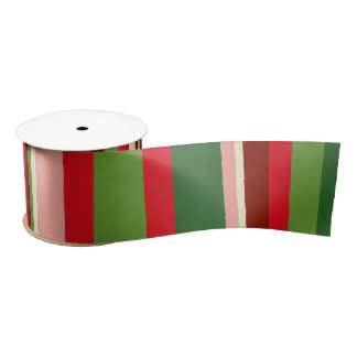 Seamless Christmas Geometric Pattern Satin Ribbon